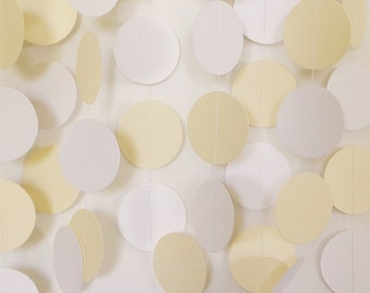 White & Ivory (Cream) Wedding Paper Garland, Circle Garland, Cardstock, Bridal Shower Decorations, Wedding Decor, Baby Shower, 10 ft. long
