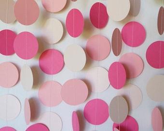 Pink and Blush Garland, Blush Wedding Decor, Pink Baby Shower, Birthday Decoration, 1st Birthday Party, 10 ft. long