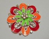 Red Green and Orange Magnetic Brooch with Acrylic Rhinestones Pageant Sash Pin