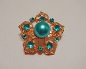Turquoise Blue Pearl Star Magnetic Brooch with Acrylic Rhinestones Pageant Sash Pin or Portuguese Knitting Pin in Gold