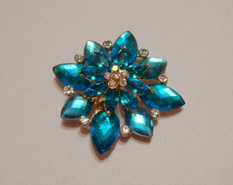 Blue Starburst Magnetic Brooch Acrylic Rhinestone Sash Pin Pageant in Gold