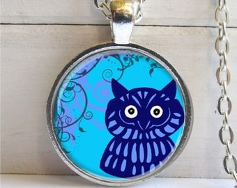 Owl Art Pendant, Whimsical Owl, Blue, Charm Necklace