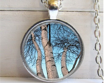 Tree Necklace, Birch Tree Pendant, Art Pendant, Tree Branch Necklace
