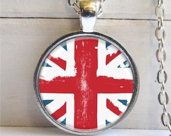 Union Jack Art Pendant, British Flag Pendant, Silver and Glass Cham Necklace