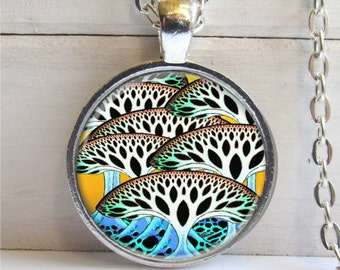 Tree Necklace, Art Pendant, Colorful Tree Jewelry, Whimsical Jewelry