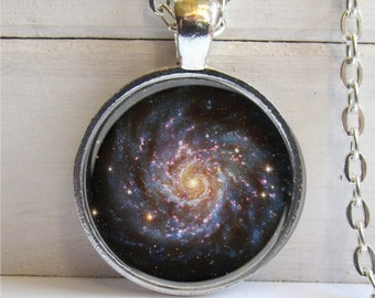 Galaxy Pendant, Spiral Galaxy Necklace, Nebula Jewelry, Space Necklace