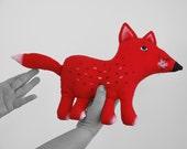 fox, a painted folk art doll - soft sculpture