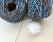 Organic natural dyed handspun cotton yarn: Blue/mud brown (2 rolls, large sized)