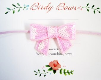 Baby Pink Sequin Bow Headband, Baby Headbands, Infant Headbands, Girl Headbands, Baby Girl Headbands, Baby Bow