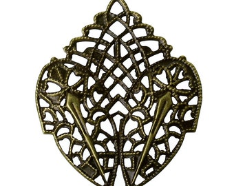 12pc 41x31mm antique bronze  filigree wraps-9852