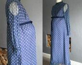 70s Maternity Maxi Dress in Navy Polka Dot Medium
