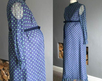 70s Maternity Maxi Dress in Navy Polka Dot Medium