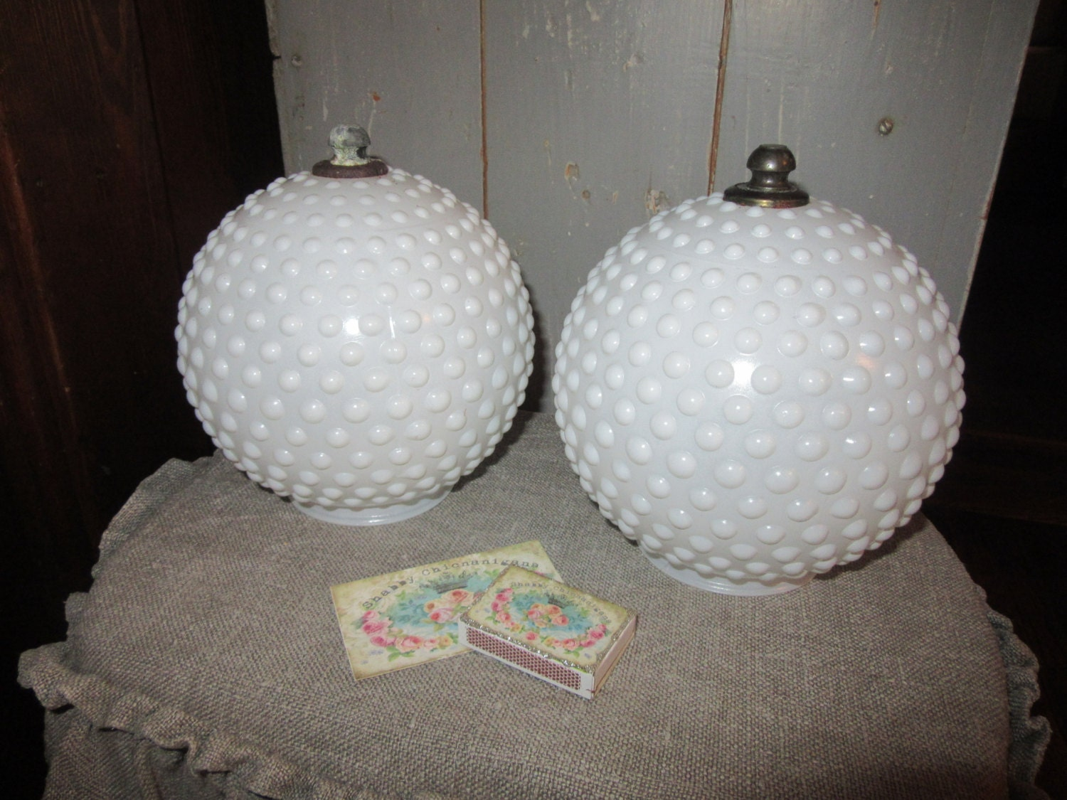 pair of milk glass hobnail light globes for by