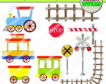 Trains and Signs Clip art, Choo choo clip art, Trains children party clipart, Train Illustrations Digital PU / CU- SET of 10