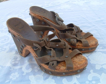 CHRISTIAN DIOR sandals excellent and comfortable size 38 1/2  made in France circa 1980's