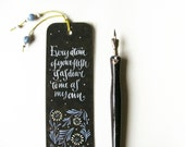Jane Eyre quotation black bookmark, with handwritten calligraphy - Every atom