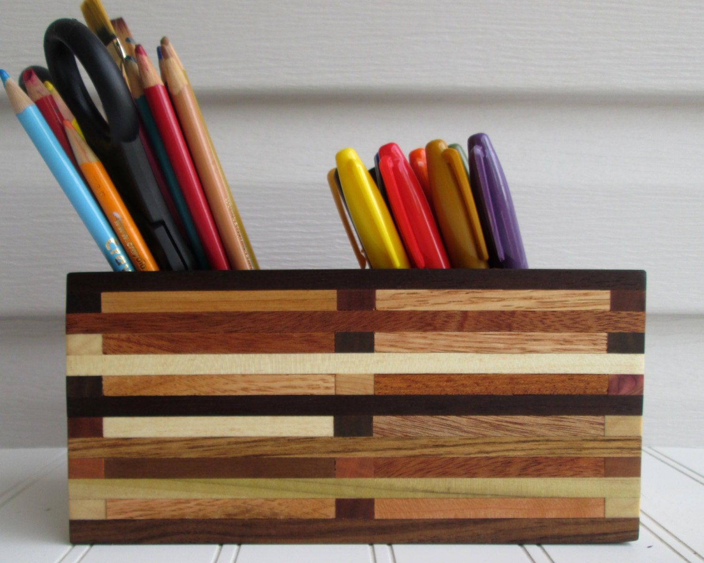 Pencil Holder Desk Organizer Artist Box Wood Box By