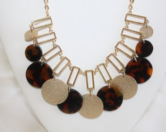 Vintage Tortoise Shell Necklace Fringe Bib Boho 1970s Jewelry