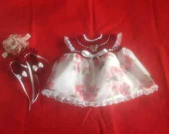 Handmade Crochet Newborn Baby Girl Dress Set - Burgundy Floral