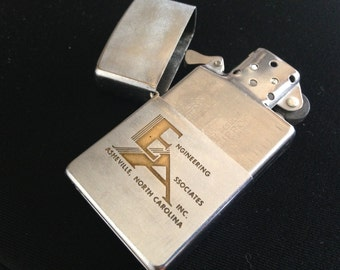 Holiday Sale Vintage 60s ZIPPO Flip Lighter Engraved with Engineeing Logo Asheville North Carolina