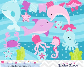 INSTANT DOWNLOAD, girls ocean clipart or ocean vectors for personal and commercial use