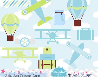INSTANT DOWNLOAD, boys airplane clipart and vectors for personal and commercial use