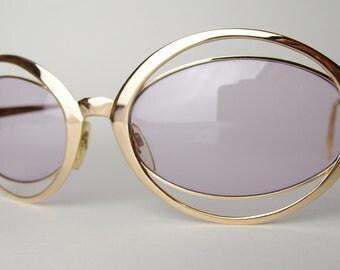 Vtg Silhouette Sunglasses Eyeglasses Frames Gold Extravagant Oversized Double Rim Space Age Collectible Collector's Item Austria Pre-Futura
