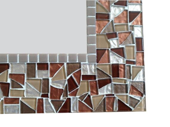 Mosaic Mirror In Brown Tan Beige Metallics By