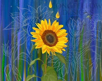 Sunflower Night - Watercolor/mixed media - Nature - Beauty - 12 x 12 or 16 x 16 Print