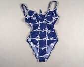 90s does 50s nautical sailor pin up 1-pc swimsuit sz small