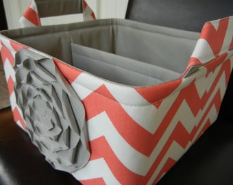 """LG Diaper Caddy(choose COLORS) 10""""x10""""x6""""- One Divider -Fabric Storage Organizer -Baby Gift-Chevron-""""Grey Rose on Coral Zigzag"""""""