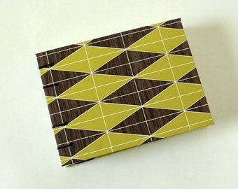 Small Green Geometric and Brown Woodgrain Blank Book - Notebook Sketchbook Landscape