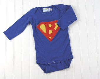 Personalized Letter Superman Onesie- Choose Your Child's First Initial