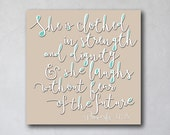 She is Clothed with Strength 2 | Proverbs 31 | Home Wall Decor | Canvas Art Decor | Typography Scripture Print | Inspirational Scripture