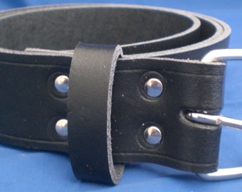 """Black Leather Belt 1 1/4"""" Wide (32mm) with Choice of Buckle and Sizes Handmade Real Leather"""