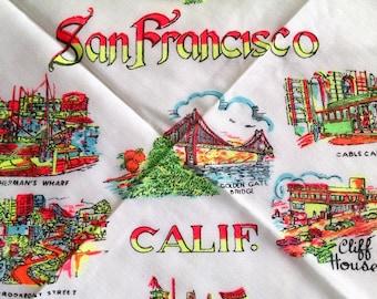 Kitschy San Francisco California Souvenir  Hanky
