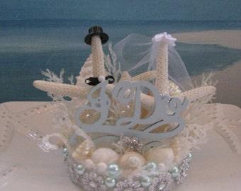 Starfish Beach Wedding Cake Topper~I Do Cake Topper~Seashell Wedding Cake Topper