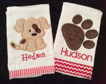 Puppy Dog and Paw Print Burp Cloth Set