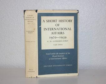 A Short History of International Affairs 1920-1939 by G.M. Gathorne-Hardy, 1968, Vintage Book, Dark Blue Book, Dark Blue Decor