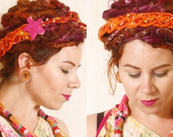 Orange headband Festival hair  Dreads accessories Bohemian hair Gypsy hair Patchwork headband Braid headband Hippie headband Boho hair