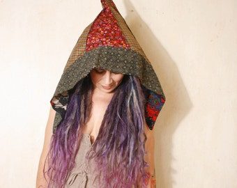 Gnome hat Hood hat Pixie hat Green hat Fairy hat Festival fashion Witch hat Teen hat Fabric hat Halloween costume Woodland hat Woman hat