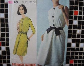 vintage 1960s Simplicity sewing pattern 6294 designer fashion one piece dress size 12