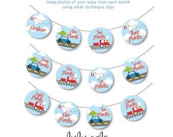 Transportation Birthday Party Baby's First Year Tags | Transportation Party Banner | INSTANT DOWNLOAD |Plane, Train, Auto Birthday |LuluCole