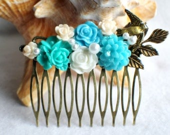 Flower hair comb in blue, teal and cream with dove and leaf, wedding hair comb with resin flowers.