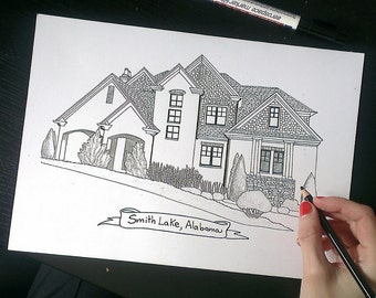Custom Ink Sketch of your home or wedding venue - Custom Drawing from your photo-Wedding Gift-Anniversary Gift- Keepsake Art