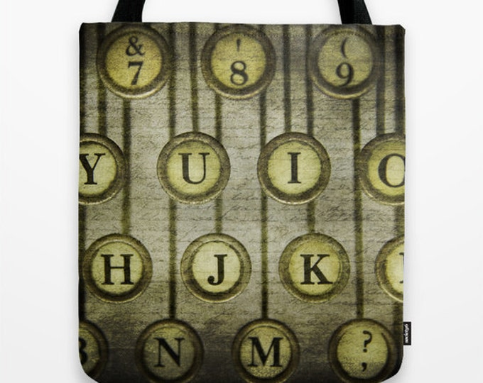 Typewriter Keys Photo Tote Bag, Tote Bag, Photo Tote, Market Tote, Book Bag, Photography, Still Life Photography