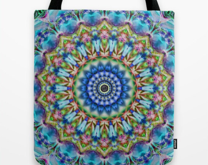 Soothing Blues Mandala Photo Tote Bag, Tote Bag, Photo Tote, Digital Art, Photography, Book Bag, Reusable Tote