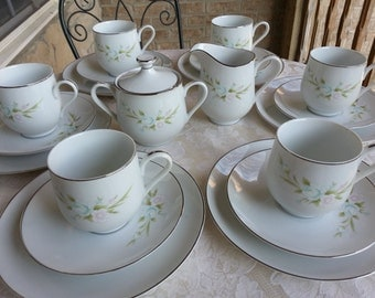 Sango Tea Set for 6, 21 Pieces, Chapel Rose Pattern, Platinum Trim