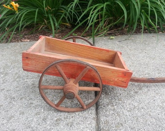 Primitive Antique Toy Wagon or Cart, Toy is Complete, Wheels are Intact