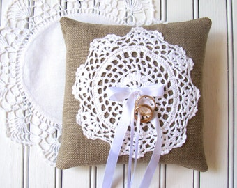 Country Barn Wedding Pillow, Ring Bearer Pillow, Wedding Ring Cushion